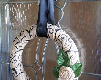 Natural and Black Burlap Small Round Wreath with Burlap Roses