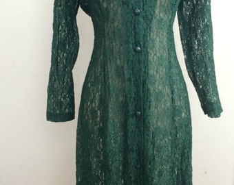 70s dress, 70s, green dress, lace dress , 1970s dress, green lace dress, vintage dress, Dawn joy,80's, gothic dress, 70's dresses, victorian