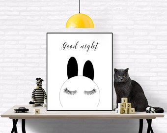 Good Night Minimalistic Nursery, Bunny, Eyelashes, Scandinavian Print ,Black And White, Affiche Noir Et Blanc, Minimalistic Poster, Bunny
