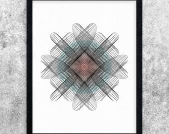 Printable Wall Art, Modern Art, Geometric Print, Instant Download, Digital Art, Home Decor, Abstract Art Print, Minimalist Art, Teal & Pink