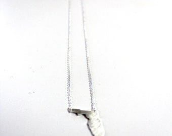 State of Florida Necklace Minimalist Silver Plated