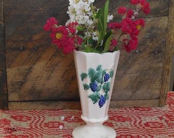 Vintage McCoy Vase, Floral Pedestal Flower, Antique Curio, Ivory Matte Vase, Hand Painted Vase, Grapes, Leaves, Vines, Vintage McCoy Pottery