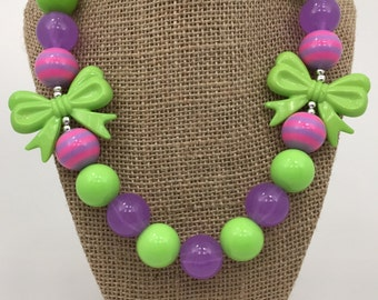 Pink & Purple Pop Sugar Lime Bows Chunky Bubblegum Necklace