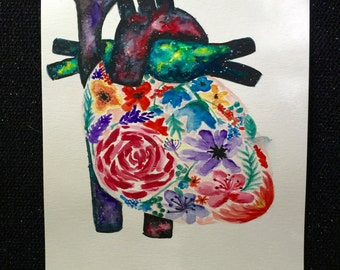 Anatomic heart painting/heart watercolor painting/galaxy painting/watercolor flowers/galaxy/flowers