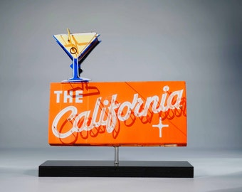 The Californian Neon sign photo cutout / Vintage neon sign / bar art / Martini Glass neon / mid century modern decor / retro decor / rustic