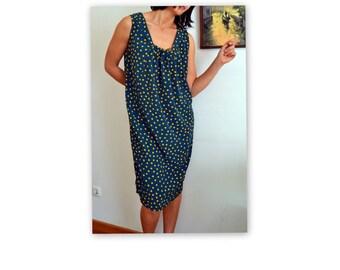 Loose silk tunic loose dress silk green silk tunic plus size tunic plus size dress silk sleeveless polka dot dress vintage 80s Plus size 14