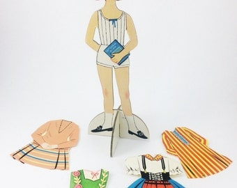 Vintage paper doll,paper doll decoration with 4 outfits, German paper doll, girls bedroom decor