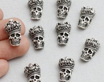 15 Pieces Antique Silver Skull Beads, Skull Beads, Skull Charms,Silver Skull Charms, Halloween Beads, 17x10mm, sku/CTN8
