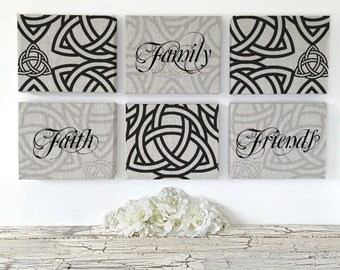 Faith Family Friends Sign | Holy Trinity Print | Eclectic Home Decor |  Spiritual Living Room