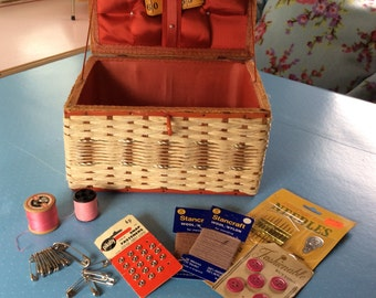 Vintage Sewing Box - Retro Sewing Kit - Includes Buttons Threads Haberdashery - Craft Box - Wicker Basket