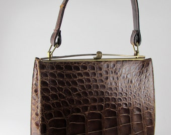 Vintage 1950s Brown Crocodile Skin Handbag