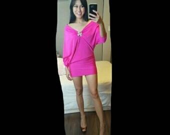 Hot pink reversible mini dress
