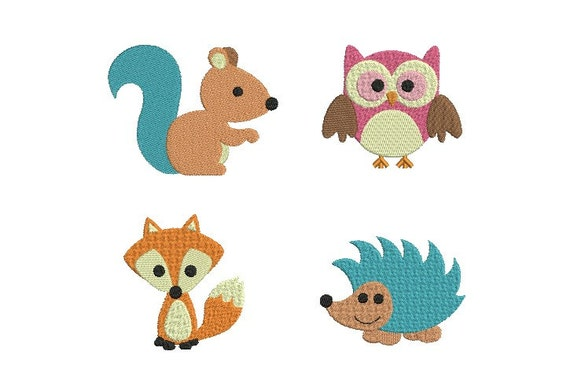 Woodland animal embroidery forest