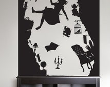 Alice in Wonderland - Falling Down the Rabbit Hole - Vinyl Wall Decal