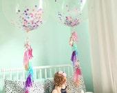 "Jumbo Confetti Balloons - Confetti Stuffed Balloons - Jumbo Balloons with Tassel Tail - 3ft Balloons - 36"" Balloons"