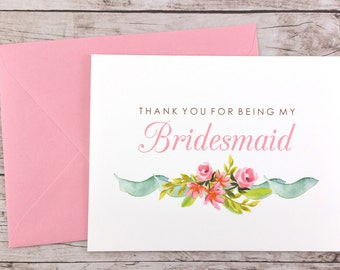 Thank You For Being My Bridesmaid Card, Floral Bridesmaid Card, Wedding Card, Bridesmaid Gift - (FPS0019)