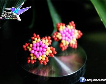 Small star earrings - Huichol style