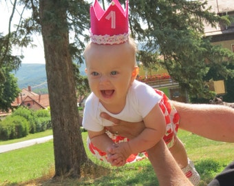 PInk Birthday Crown, Princess Birthday Crown, 1.st Birthday Crown