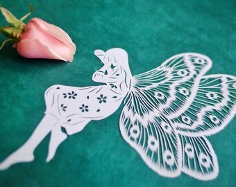 Original Papercut – Handcut – Papercutting – Paper Cutting Art – Paper Illustration – Paper Art – Gift for Her – Handmade - Butterfly Girl