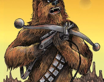 signed printed copy of original Chewbacca artwork