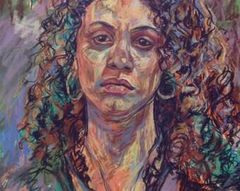 Original Pastel Portrait of a Young Woman