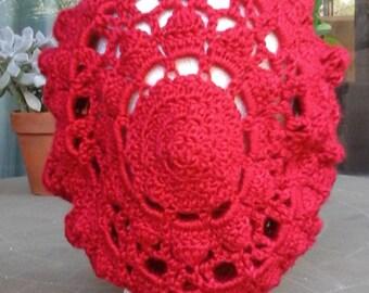 Red Crochet Beret