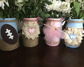 Quart Mason Jar Centerpieces: Gender Reveal