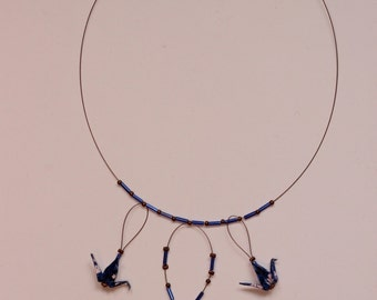 Necklace Origami - Crane royal blue washi paper