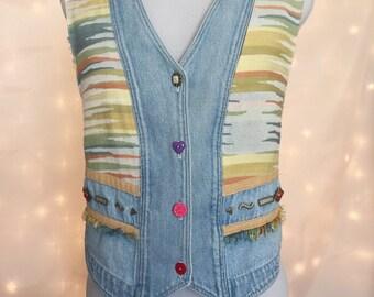 90s Vintage Vest - Vintage Denim - Patterned Blue Denim Vest with Colorful Mismatched Buttons and Tribal Print - 90s Nerdy Normcore Chic