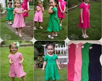 Monogrammed ruffle hemmed cotton dress
