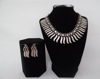 Ethnic Oxidized Silver Necklace and Earring Set