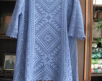 Made to order summer women crochet blouse. Tunica . Linked cotton crochet