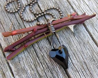 SALE. indigo blue swarovski crystal heart and gunmetal ball chain pendant necklace. wild heart. dainty necklace. gift of love.
