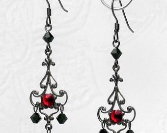 Gothic Gunmetal Filigree CRYSTAL CHANDELIER EARRINGS Black Red Rhinestone E33