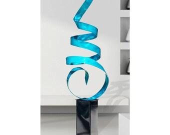 Aqua Abstract Metal Sculpture, Large Modern Indoor Outdoor Garden Art,  Contemporary Yard Decor - Aqua Sea Breeze by Jon Allen