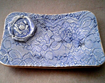 Ceramic Trinket Dish Sky Blue Lace edged in Gold