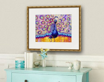peacock picture | peacock decor | bird artwork | peacock art | peacock artwork | peacock paintings | purple teal blue gold yellow art PRINT