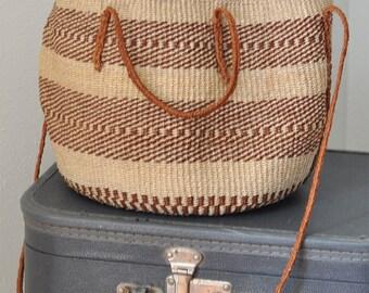 1970s Boho Woven Bag Medium Size Shoulder Strap