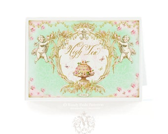 High Tea card, Marie Antoinette, mint green, pink, bridal shower card, birthday card, tea party invitation, friendship card, vintage style