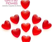 Puffy Red Heart Glass Shapes for Pendant Jewelry and Mosaics. Not beads. 10 Pack