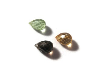 3 Gemstone Beads, Smoky Quartz, Citrine & Peridot Mixed Lot, Multi Stone Quartz Briolette Bag, Three Stones (L-Mix26c)