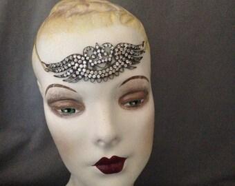 Edwardian ,Teens, 1920s Gatsby Paste, Rhinestone Headband, Headache Band, Headpiece, Bridal - Crown, Wings