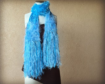 Powder Blue Scarf, Sky Blue Scarf, Light Blue Scarf, Medium Blue Scarf with Fringe, Ribbon Scarf with Sparkle