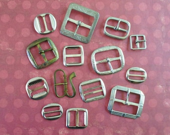 Collection of 14 Vintage Metal Buckles