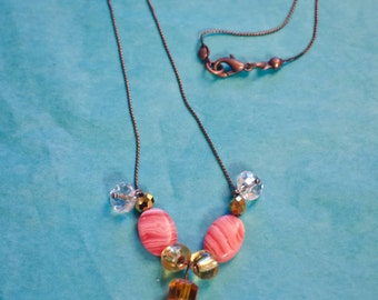 Coral and Gold tone Necklace