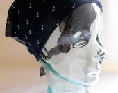 Chiffon Georgette Head Scarf - Rockabilly Retro Mini Anchors Nautical Navy Blue White - Hair Wrap Neck Tie Accessories