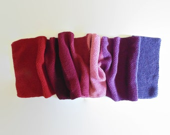 Gradate Red Purple Hand Knit Scarf, Extra Long Scarf, Huge Scarf, Womens Scarves, Mens Scarf, Cute Scarf, Wrap Scarf, Wool Scarf, Long Scarf