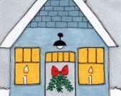 "ACEO - Artist Trading Card - SFA - Original Illustration - Folk Art - Cute Whimsical - 2.5"" X 3.5"" - A Beach Cottage Christmas"