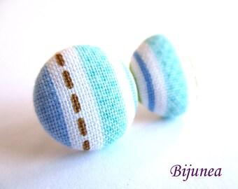 Stripe earrings - Blue stripe stud earrings - white stripes posts - Baby blue stripes post earrings sf1309