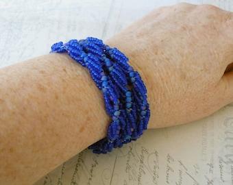 Dark Blue Bracelet, Cobalt Blue Multi Strand Beadwork Bracelet, Three Strand Spiral Cuff,  Sapphire Beadwoven Jewelry